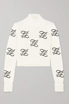 Fendi Cropped Embroidered Wool And Cashmere-blend Turtleneck Sweater - Ivory