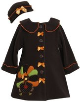 Bonnie Baby Bonnie Jean Girls Turkey Thanksgiving Fall Winter Coat Hat Set