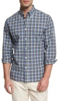 Billy Reid Plaid Long-Sleeve Sport Shirt, Blue Pattern