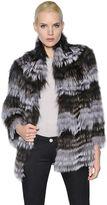 Yves Salomon Striped Fox Fur Jacket