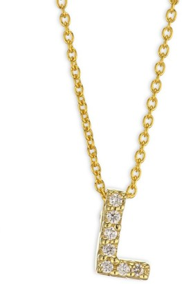 Roberto Coin Tiny Treasures Diamond & 18K Yellow Gold Initial Necklace