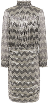 BA&SH Gathered Metallic Printed Stretch-jersey Dress
