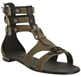 olive canvas buckle detail flat gladiators