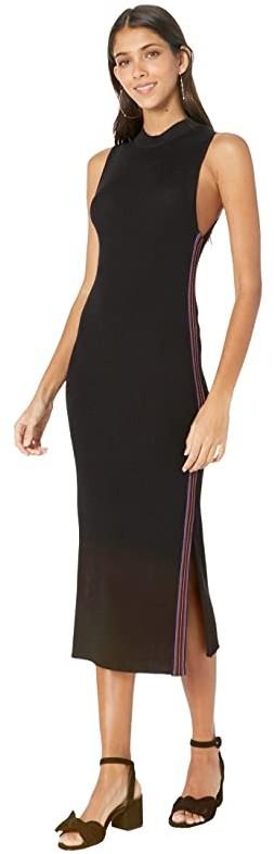 Leola Sleeveless Sweater Dress w Stripe Trim (Black) Women's Dress