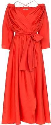 Three Graces Tessa open-shoulder silk wrap dress
