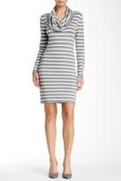 Tart Long Sleeve Cowl Neck Stripe Sheath Sweater Dress