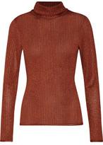 Alice + Olivia Billi Metallic Stretch-Knit Turtleneck Sweater