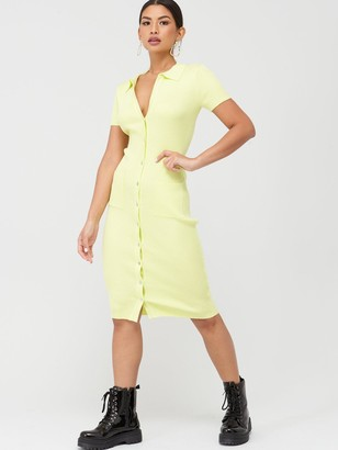Missguided Ribbed Collar Plunge Button Up Dress - Yellow
