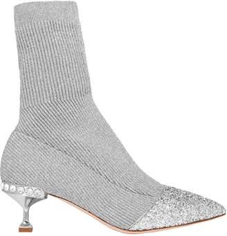 Miu Miu Glittered Metallic Ribbed-knit Sock Boots