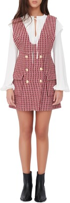 Maje Tweed Pinafore Dress with Removable Long Sleeve Blouse
