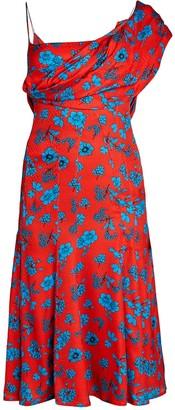 Versace One-Shoulder Draped Floral Dress
