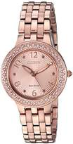Citizen Women's 'Eco-Drive' Quartz Stainless Steel Casual Watch, Color:Pink (Model: FE2083-58Q)