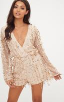 PrettyLittleThing Gold Sequin Wrap Playsuit