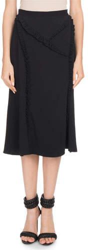 Altuzarra Miniret A-Line Front-Slit Crepe Skirt w/ Ruffled Trim
