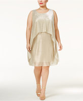 SL Fashions Plus Size Metallic Popover Dress
