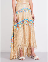 Peter Pilotto Crochet-trim metallic lace midi skirt