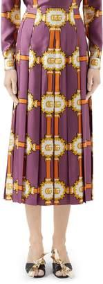 Gucci GG Doubloon Harness Print Pleated Silk Twill Skirt