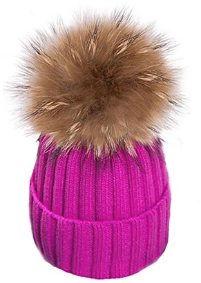 Feifanshop Womens Girls Warm Winter Crochet Hat Wool Knitted Beanie with Large Raccoon Fox Fur Pom Pom Cap Ski Snowboard Hats Bobble Ball (Hot Pink)(Size: One size fit all)