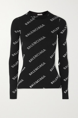 Balenciaga Printed Ribbed-knit Sweater - Black