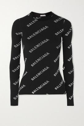 Balenciaga Printed Ribbed-knit Top - Black