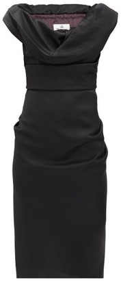 Vivienne Westwood Ginnie Draped Virgin-wool Cady Pencil Dress - Black