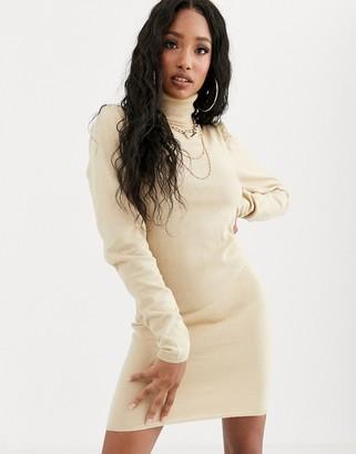 NA-KD Na Kd high neck puff shoulder mini dress in beige
