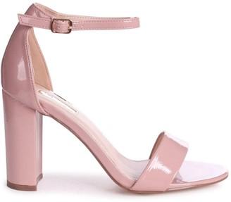 Linzi DAZE - Dusky Pink Patent Barely There Block High Heel