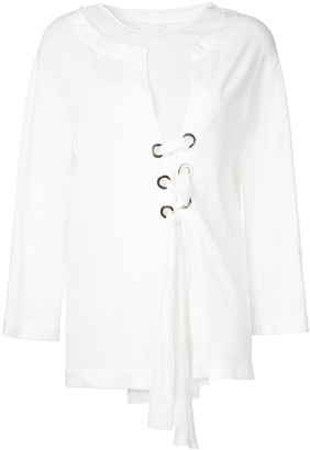 Alberta Ferretti Lace Up Blouse