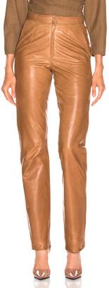 ZEYNEP ARCAY High Waisted Cigarette Leather Pant in Light Taba   FWRD