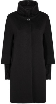 Cinzia Rocca Ribbed-Trim Wool Coat