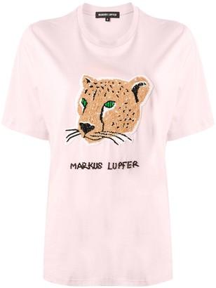 Markus Lupfer embellished leopard T-shirt