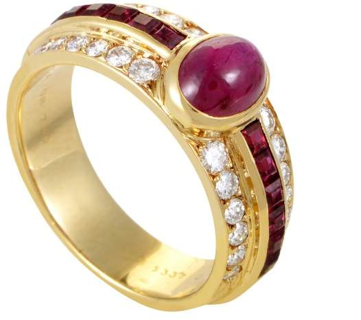 Van Cleef & Arpels 18K Yellow Gold Diamond and Ruby Ring Size 6.5