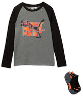 Puma Long Sleeve Raglan Tee & Low Cut Socks Set (Big Boys)