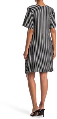Nina Leonard Striped V-Neck Flutter Sleeve Jersey Shift Dress