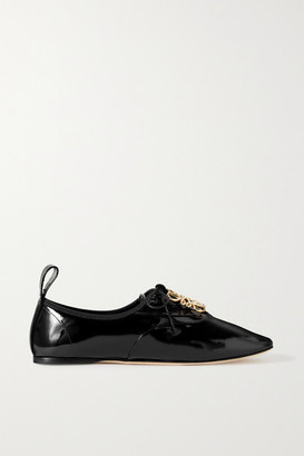 Loewe Logo-embellished Patent-leather Ballet Flats