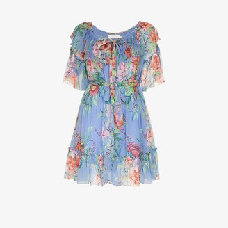 Zimmermann Prima frilled floral silk mini dress