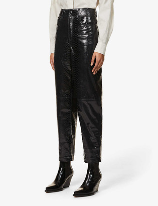 REMAIN Birger Christensen Elsa high-rise leather trousers