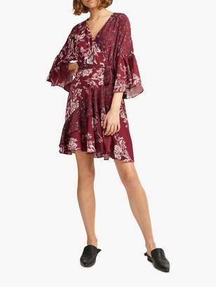 French Connection Frill Wrap Floral Dress, Deep Framboise Multi