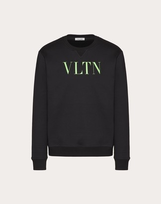 Valentino Vltn Crew Neck Sweatshirt Man Black/neon Green Cotton 94% M