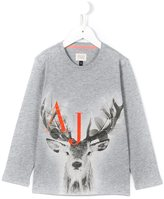 Armani Junior deer and logo print T-shirt - kids - Cotton - 10 yrs