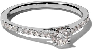 De Beers Platinum My First DB Classic pave solitaire diamond ring