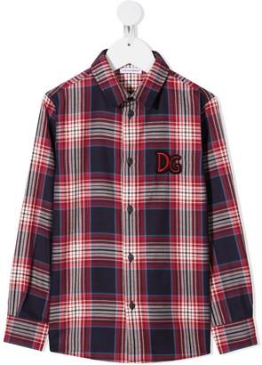 Dolce & Gabbana Kids Check Logo-Patch Shirt