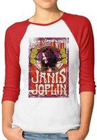 Agongda T-shirts Women's Janis Joplin Art 3/4 Sleeve Raglan T-Shirt