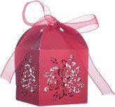 Aspire 50 Pcs / Pack Wedding Favor Boxes Rose Laser Cut Gift Boxes with Ribbon Great For Party-48 Packs
