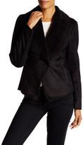 Kenneth Cole New York Faux Suede & Faux Fur Drape Jacket