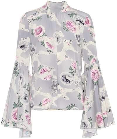 Co Floral-printed silk top