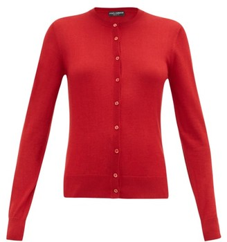 Dolce & Gabbana Crew-neck Cashmere-blend Cardigan - Womens - Red