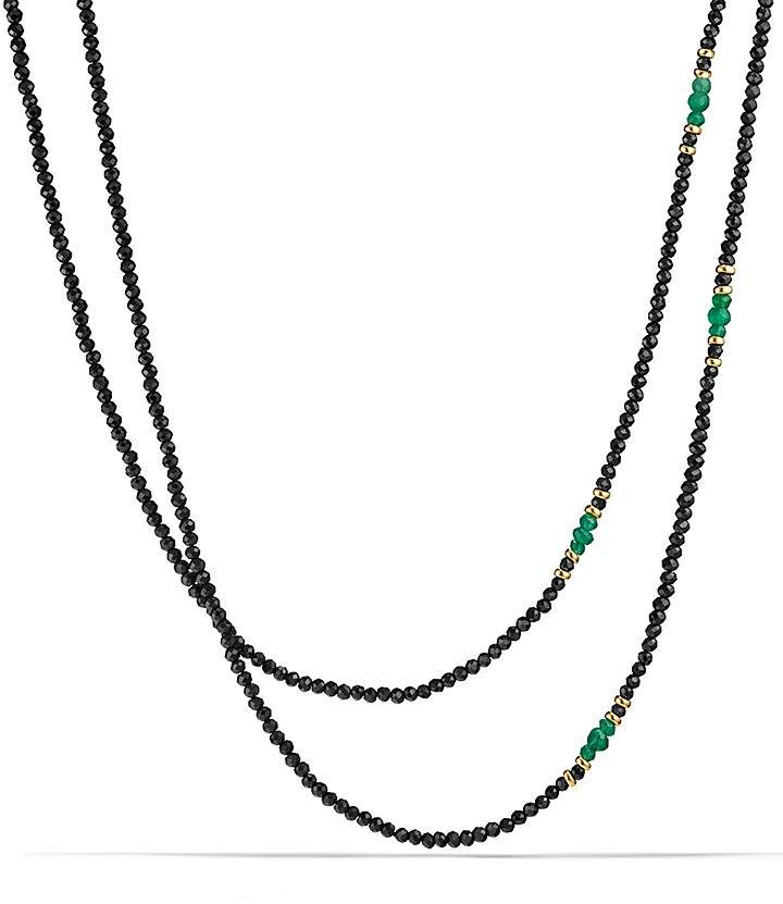 David Yurman Osetra Tweejoux Necklace with Black Spinel, Green Onyx and 18K Gold