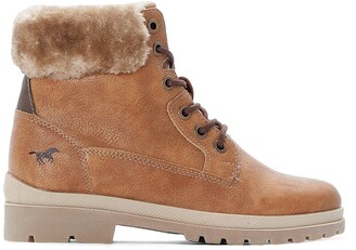 Mustang Faux Leather Lace-Up Ankle Boots with Faux Fur Lining and Chunky Heel
