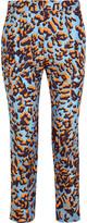 MSGM Leopard-print silk-twill straight-leg pants
